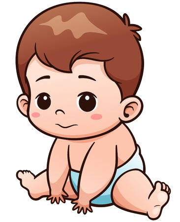Vector Illustration of Cartoon Cute Baby