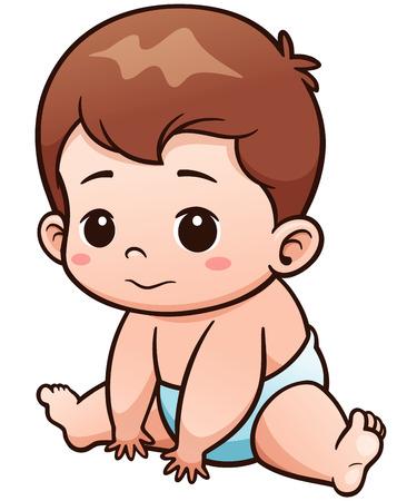 Ilustración del vector de la historieta del bebé lindo
