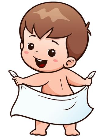 Vector Illustration of Cartoon Baby take a bath Illustration