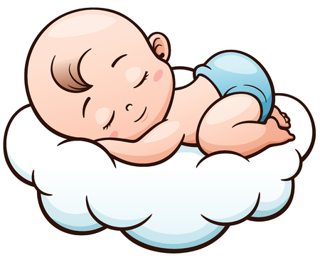 Vector Illustration of Cartoon Baby sleeping on a cloud Vettoriali