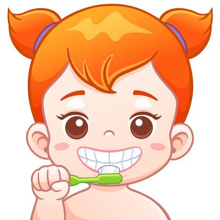 Vector illustratie van cartoon schattig meisje zijn tanden poetsen