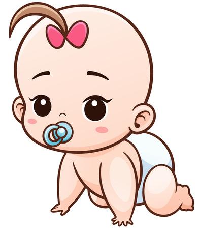 Ilustración de la historieta del bebé aprender a gatear Ilustración de vector