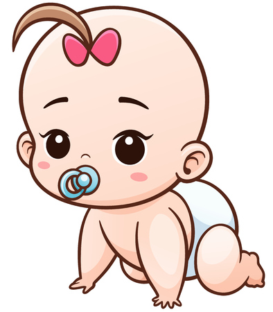 positivism: Vector Illustration of Cartoon Baby learn to crawl