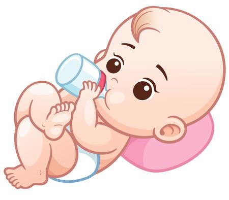 Ilustración vectorial de bebé de dibujos animados con una botella de leche. Bebé bebé comiendo leche