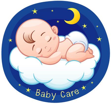 Ilustración del vector de la historieta del bebé que duerme en una nube