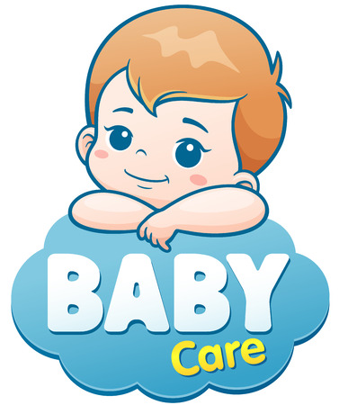 Vector Illustration of Cartoon Cute Baby. Baby care logo concept