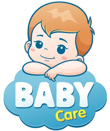 Vector illustratie van het Beeldverhaal Leuke Baby. Babyverzorging embleemconcept
