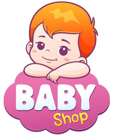 ベクトル漫画かわいい赤ちゃんのイラスト。赤ちゃんショップ ロゴのコンセプト  イラスト・ベクター素材