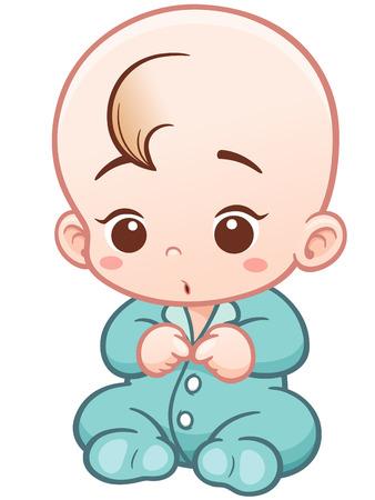 romper suit: Vector Illustration of Cartoon Cute Baby wearing bodysuit Illustration