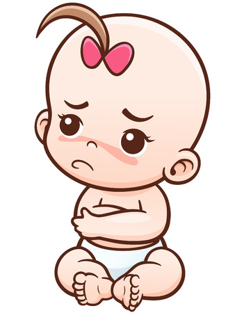 Vector Illustration of Cartoon Angry Baby