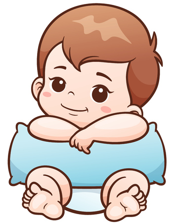 positivism: Vector Illustration of Cartoon Cute Baby with pillow