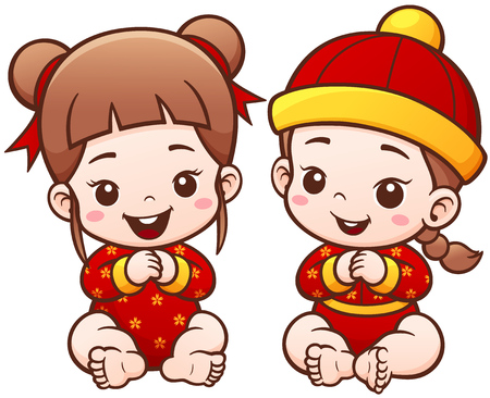 baby illustration: Vector Illustration of Cartoon Chinese Kids. Cute Baby