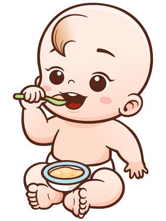 Ilustración vectorial de dibujos animados de comer al bebé linda