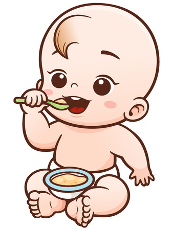 Vector Illustration of Cartoon Cute Baby eating