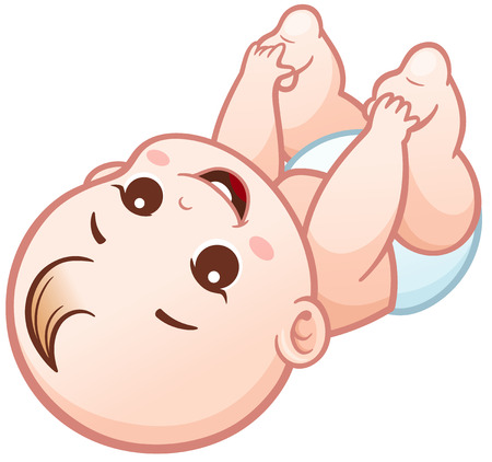 Vector Illustration of Cartoon Cute Baby happy