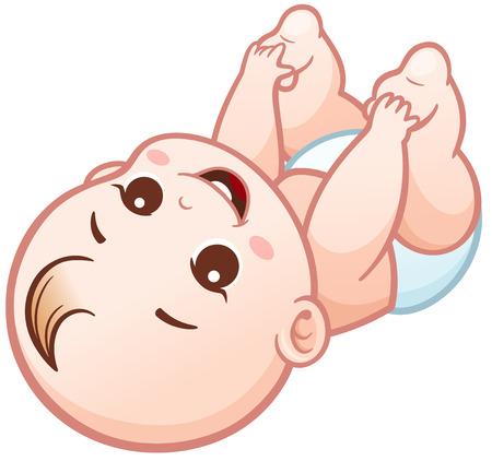 positivism: Vector Illustration of Cartoon Cute Baby happy
