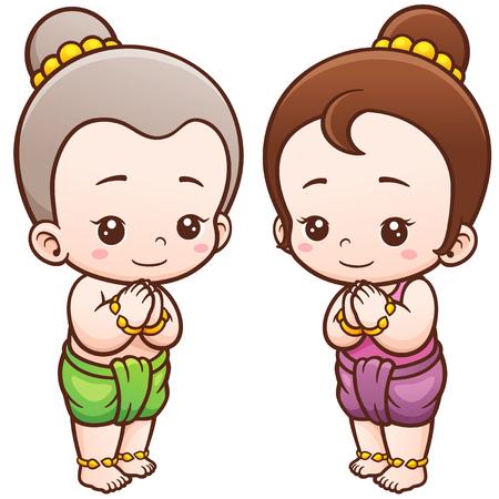 Vector illustration of Cartoon Thai kids, Sawasdee Illustration
