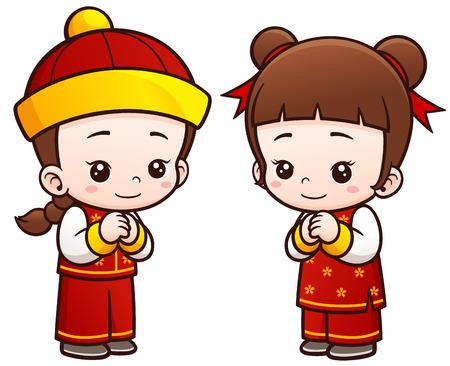niñas chinas: Ilustración del vector de la historieta de los niños chinos