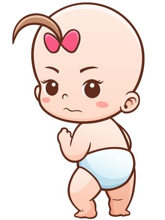 romper suit: Illustration of Cartoon Cute Baby
