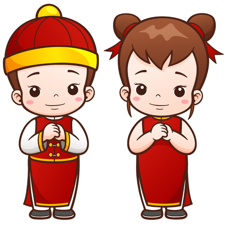 cartoon kid: illustration of Cartoon Chinese Kids