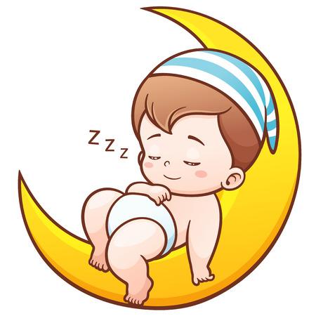 Illustration of Cartoon Cute Baby Sleeping on the moon