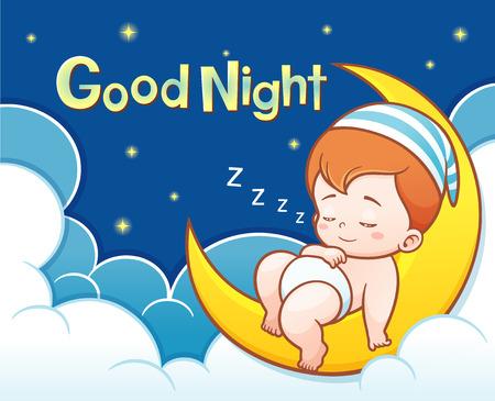 Ilustración de dibujos animados lindo bebé durmiendo en la luna con buen texto noche