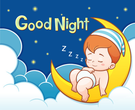 Illustration of Cartoon Cute Baby Sleeping on the moon with Good night text