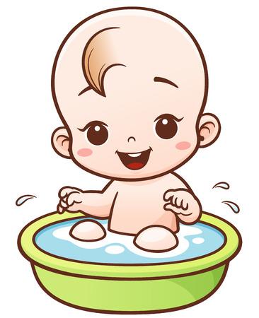 Illustration of Cartoon Cute Baby take a bath