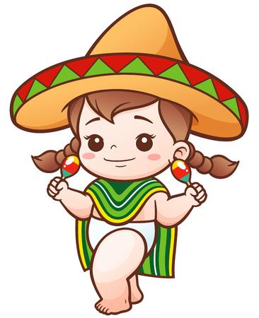 Ilustración de dibujos animados lindo de la niña del desgaste de México