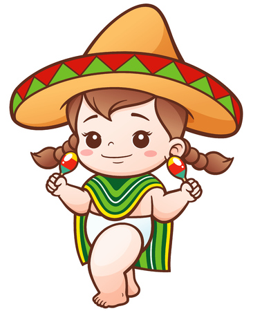 Illustration of Cartoon Cute Baby Girl wear Mexican Illustration