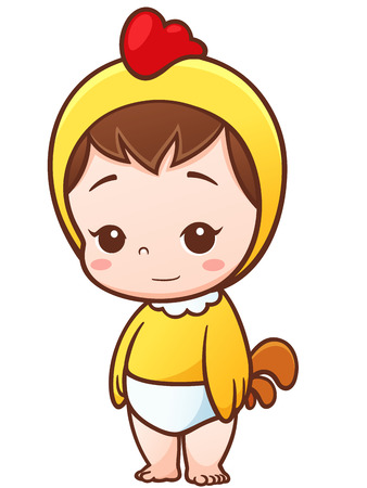 positivismo: Ilustración de la historieta del bebé pequeño polluelo cosplay Vectores