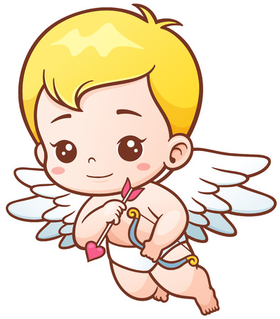 illustration of Cute Cupid with arrows and onion