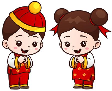 wu: illustration of Cartoon Chinese Kids