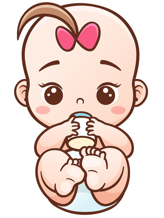 romper suit: Illustration of Cartoon baby holding a milk bottle.Baby infant eating milk