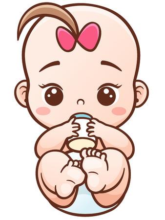 Illustration von Cartoon Baby eine Milch bottle.Baby Kind essen Milch hält