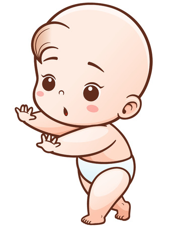 Vector Illustration of Cartoon Cute Baby learn to walk