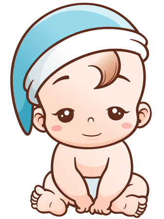 romper suit: Vector Illustration of Cartoon Cute Baby sleepy