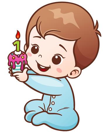 Vector Illustration of Cartoon Cute Baby holding Birthday cake one year