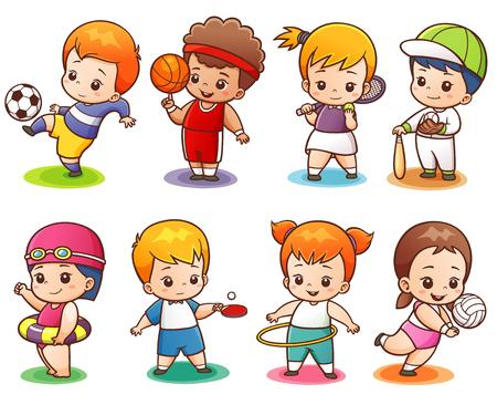 illustratie van de Sport van het beeldverhaal karakter Vector Illustratie