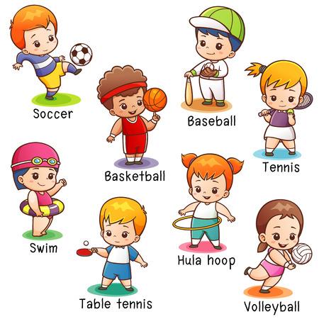 illustration of Cartoon Sport character vocabulary Illustration