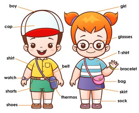 illustration of Cartoon Vocabulary clothing