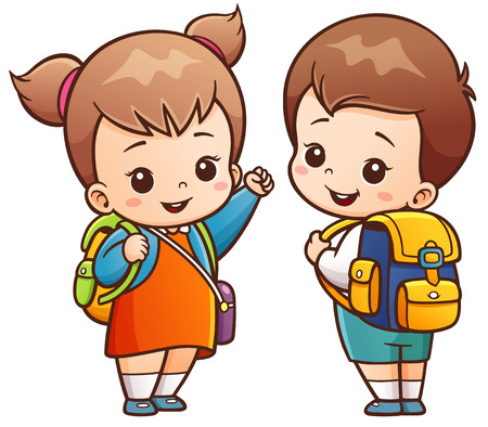illustration of Cartoon Kids Going to School