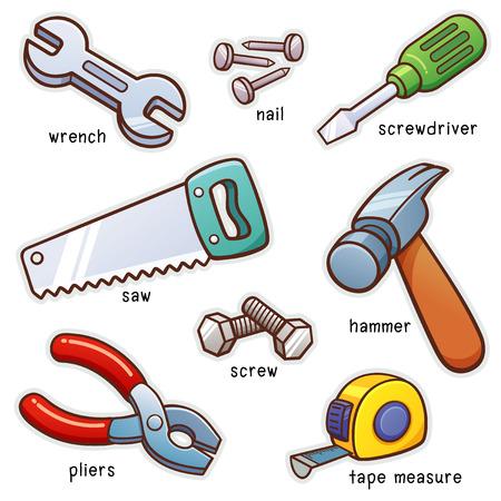Vector illustration du vocabulaire Outils mis