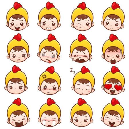 Ilustración vectorial de Cute emoticons bebé conjunto. Emoji iconos