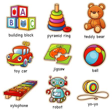 Vector illustratie van de woordenschat van het speelgoed speelgoed