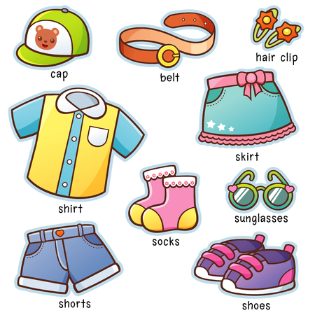 Vector illustratie van Cartoon Clothes woordenschat
