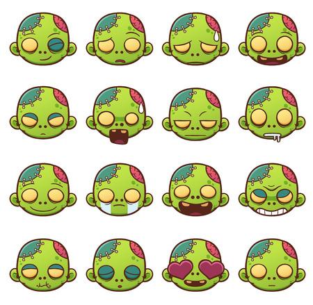 Ilustración vectorial de Zombie emoticons cara conjunto.