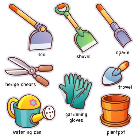Vector illustration of Cartoon Garden tools vocabulary Illustration