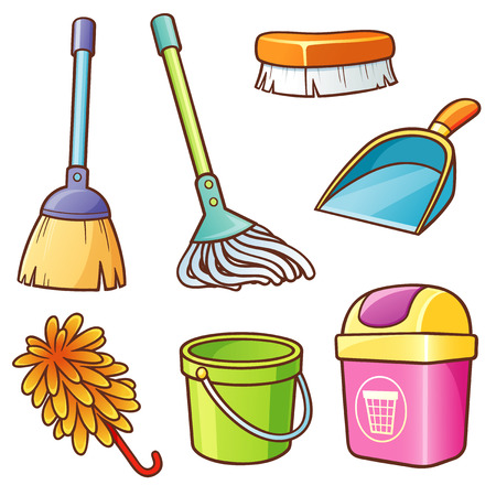 dustpan: Vector illustration of Cartoon Cleaning supplier set