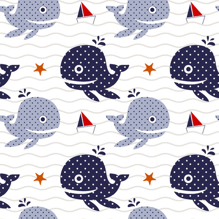 textured paper: Vector illustration seamless pattern with whale and ship